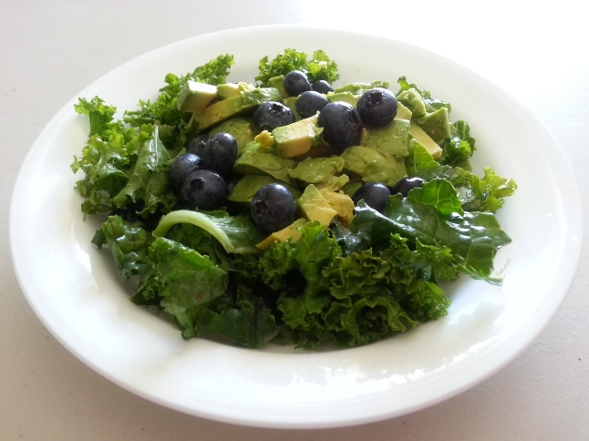 My Avocado, Blueberry and Kale Salad, minus the chia seeds and pumpkin seeds.  In my haste to eat it, I forgot to add them for the photo!