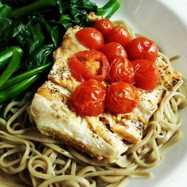 A quick and simple healthy homemade meal: seasoned salmon, Chinese greens and buckwheat soba noodles.
