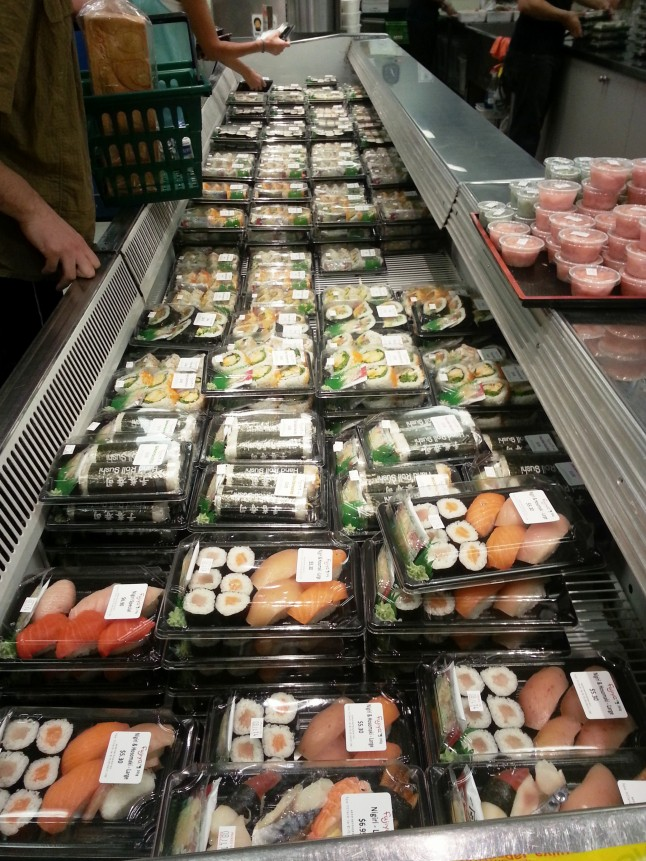 Sushi selection at Fujiya Japanese Foods