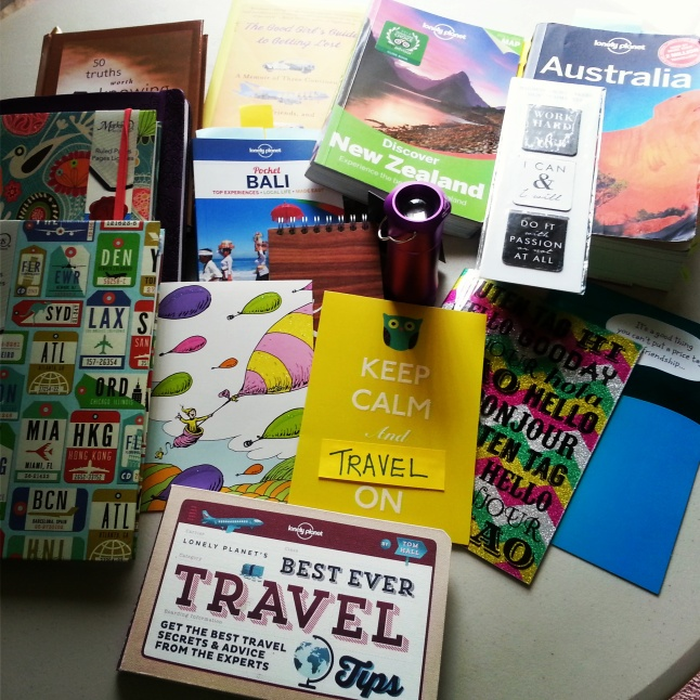 Some very thoughtful items I've received from dear colleagues and friends (THANK YOU!), or I bought on my own for my year abroad that I've packed with me. :)